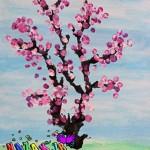 نقاشی فصل بهار با جوهر و نی